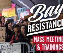 Bay Resistance First Mass Meeting & Training Flier with People Protesting